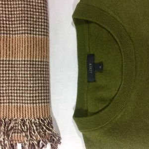 Houndstooth Plaid Scarf with Wool J. Crew Sweater